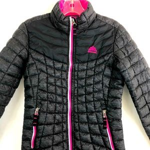Girls Snozu quilted jacket black and pink sz 7/8